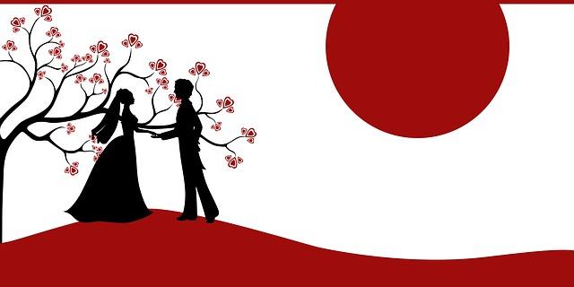 svatební pozvánka, nakreslená nevěsta a ženich