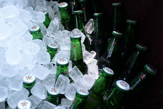 láhve v ledu